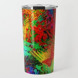BUTTERFLY FEVER - Bold Rainbow Butterflies Fairy Garden Magical Bright Abstract Acrylic Painting Travel Mug