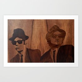 Blues brothers marquetry picture of wood Art Print