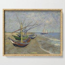 """Vincent Van Gogh """"Fishing boats on the Beach at Les Saintes-Maries-de-la-Mer"""" Serving Tray"""