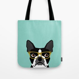 Darby - Boston Terrier pet design with hipster glasses in bold and modern colors for pet lovers Tote Bag