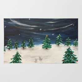 Christmas Snowy Winter Landscape Rug
