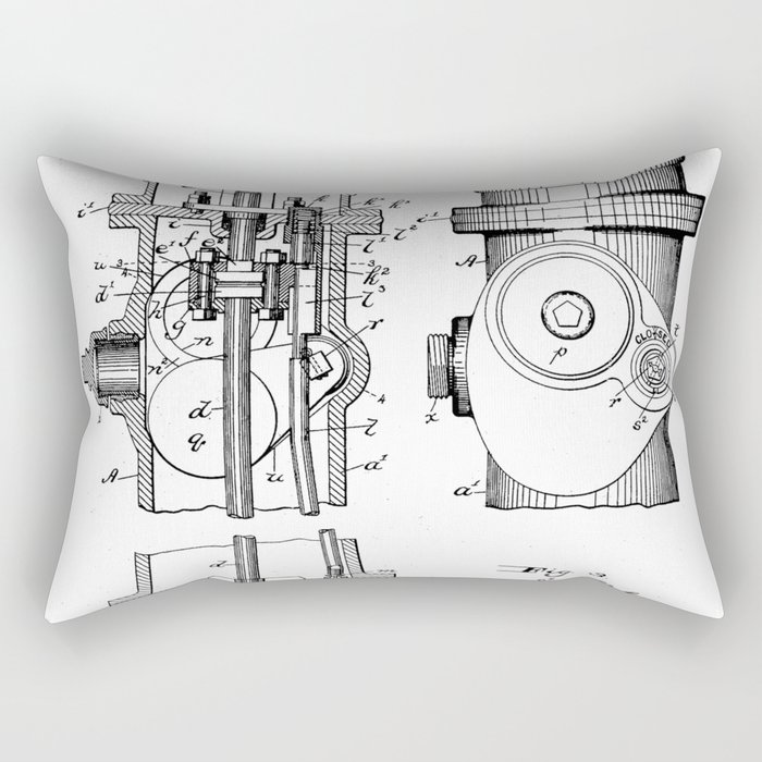Fire Fighter Patent - Fire Hydrant Art - Black And White Rectangular Pillow