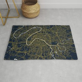 Paris City Map of France - Gold Art Deco Rug