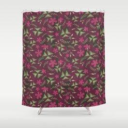 Shamrock Floral Layered Pattern / Purple Shower Curtain