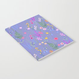blue meadows colorful floral pattern Notebook