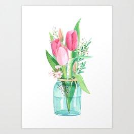 tulips in the jar Art Print