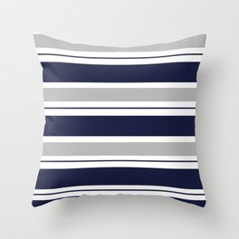Navy Blue and Grey Stripe Throw Pillow