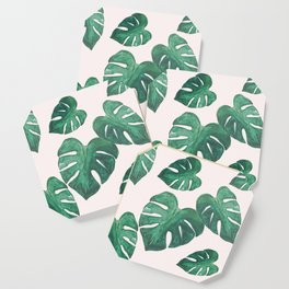 Monstera Leaves on Pink Coaster