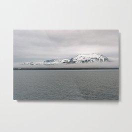 Fog between Arctic Ocean and glacier mountains Metal Print