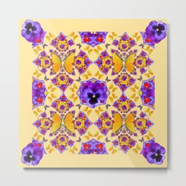 PURPLE PANSIES & GOLD  BUTTERFLIES KALEIDOSCOPE CREAM Metal Print