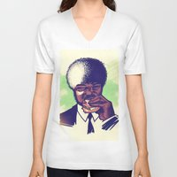 pulp fiction V-neck T-shirts featuring Pulp Fiction by ARTBYSKINGS