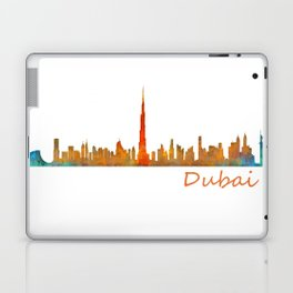 Dubai, emirates, City Cityscape Skyline watercolor art v1 Laptop & iPad Skin