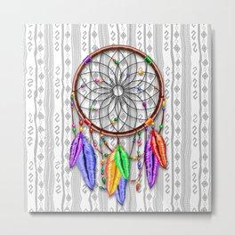 Dreamcatcher Rainbow Feathers Metal Print