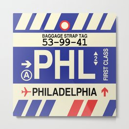 PHL Philadelphia • Airport Code and Vintage Baggage Tag Design Metal Print