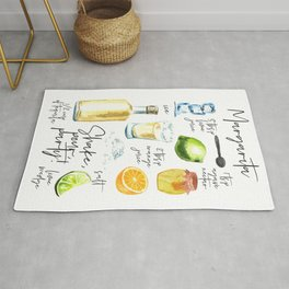 Margarita Recipe Watercolor Illustration Rug