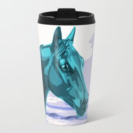 The Blue Horse and the Ocean Travel Mug