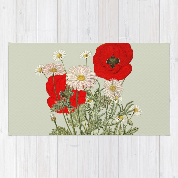A country garden flower bouquet poppies and daisies rug by anipani a country garden flower bouquet poppies and daisies rug mightylinksfo