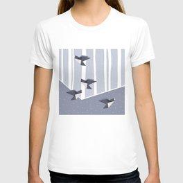 Elegant Origami Birds Abstract Winter Design T-shirt