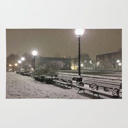 Romantic Seattle Snow At Night Rug