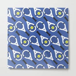 Tennis Pattern (Blue/White) Metal Print