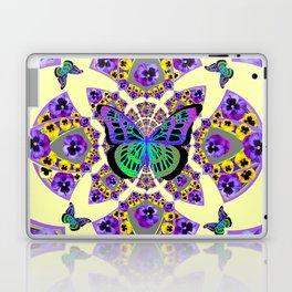 PURPLE  PANSIES & EXOTIC BUTTERFLY GEOMETRIC DESIGN Laptop & iPad Skin