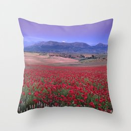 Big Fields Of Poppies. At Purple Sunset. Sierra Arana And Sierra Nevada Throw Pillow