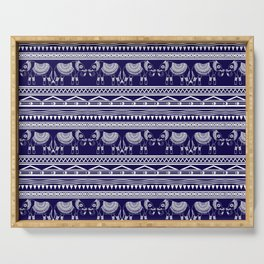 White and Navy Blue Elephant Pattern Serving Tray