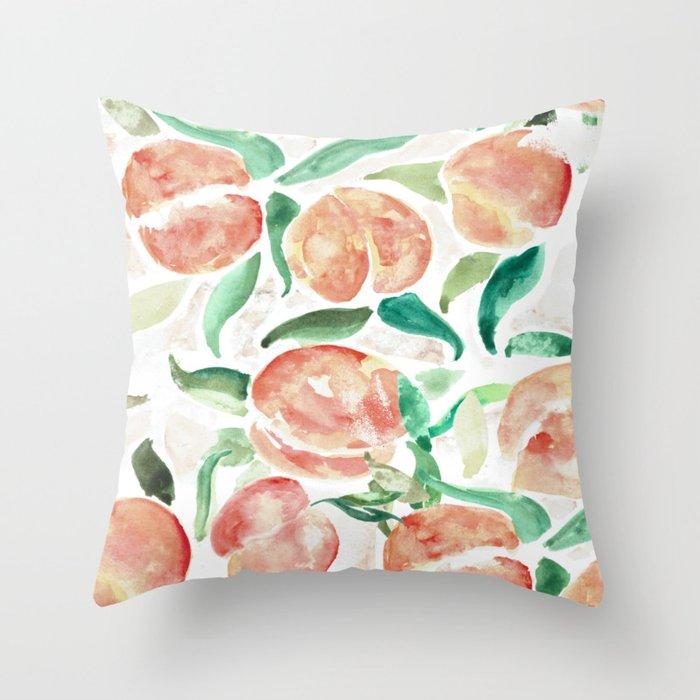 Watercolor Peaches Throw Pillow