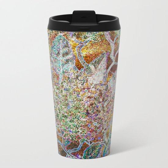 Green Gold Floral Metal Travel Mug