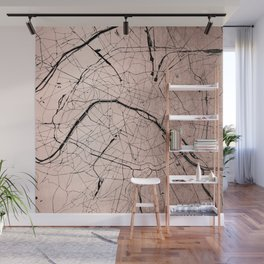 Paris France Minimal Street Map - Rose Gold Glitter on Black Wall Mural