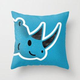 Happy Blue Rhino Throw Pillow