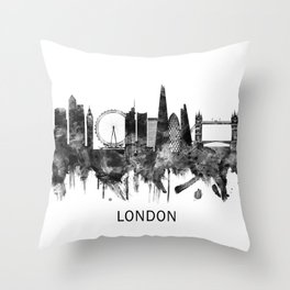 London England Skyline BW Throw Pillow