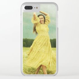 Woman in a field Clear iPhone Case