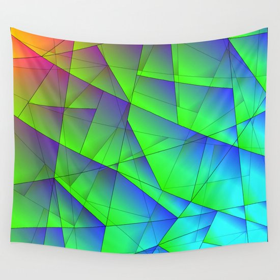 Bright fragments of crystals on irregularly shaped green and purple triangles. by grachyhamr