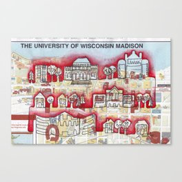 Badgers! University of WI, Madison Continuous Line Drawing on vintage map Canvas Print