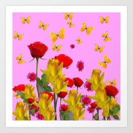 DECORATIVE YELLOW BUTTERFLIES, RED ROSES, DAFFODILS SPRING FLOWERS Art Print