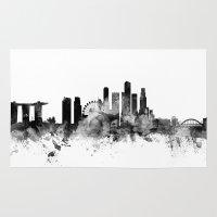 singapore Area & Throw Rugs featuring Singapore Skyline by artPause