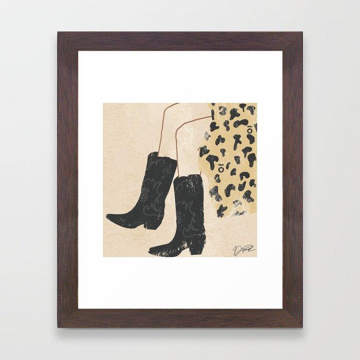 Western Boots Fashion Illustration Framed Art Print