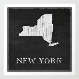 New York State Map Chalk Drawing Art Print