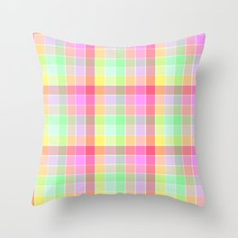 Pastel Rainbow Sorbet Ice Cream Check Plaid Throw Pillow