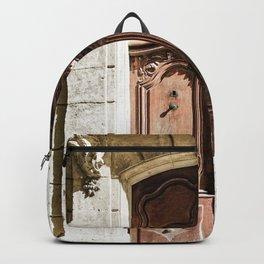 Doorway | Hotel de La Grange Nimes France Vintage Rustic Old World Desaturated Architecture Backpack