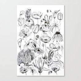 rabbits and flowers parties Canvas Print