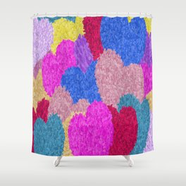 The Fragmented Hearts Shower Curtain