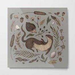 Weasel and Hedgehog Metal Print