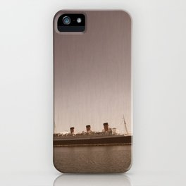 Vintage Rustic Sepia Aged Queen Mary Landscape Ocean Seascape Long Beach Print iPhone Case