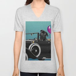Pug sitting in cabriolet car with color Balloons  Unisex V-Neck