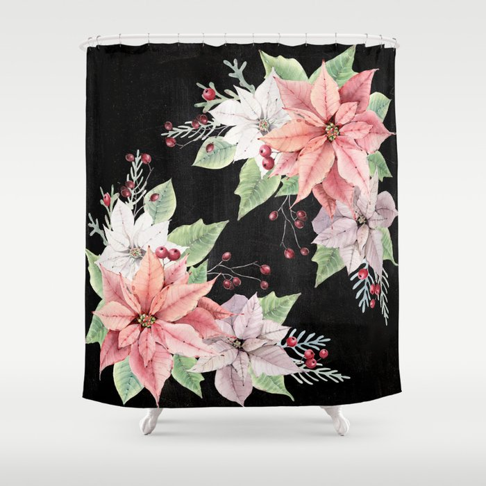 Poinsettia Shower Curtain By Lavieclaire