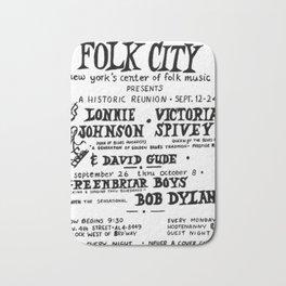 Vintage 1961 Bob Dylan Concert Billboard Poster Bath Mat