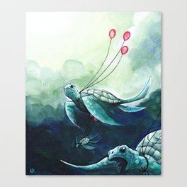 Flying turtles Canvas Print