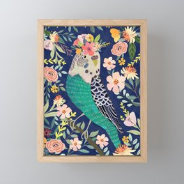 Parakeet with Floral Crown Framed Mini Art Print